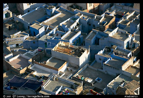 Cubist geometry of rooftops seen from above. Jodhpur, Rajasthan, India (color)