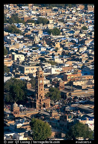 Clock tower and old quarter seen from  Mehrangarh Fort. Jodhpur, Rajasthan, India (color)