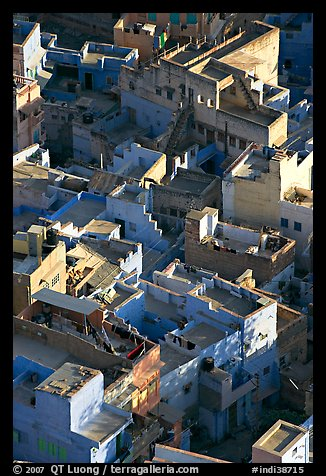 Terraces on top of blue houses seen from above. Jodhpur, Rajasthan, India (color)