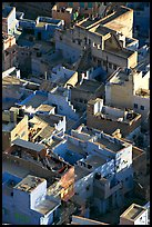 Terraces on top of blue houses seen from above. Jodhpur, Rajasthan, India ( color)