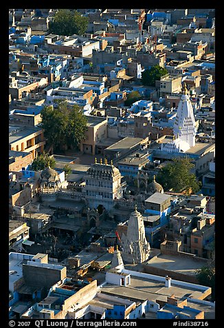 Old town rooftops and shrines seen from Mehrangarh Fort. Jodhpur, Rajasthan, India (color)