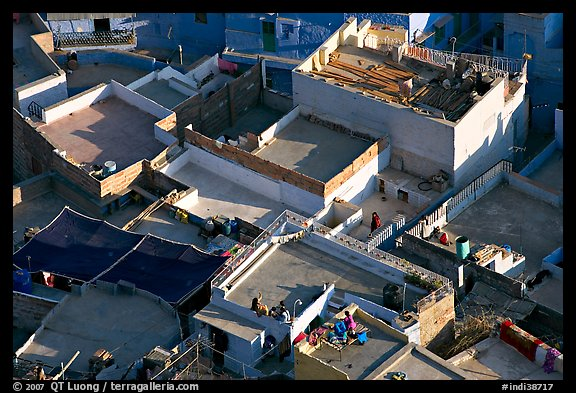 Rooftop terraces seen from above. Jodhpur, Rajasthan, India (color)