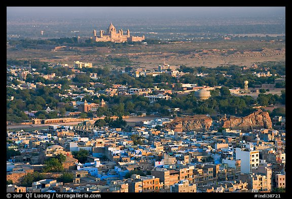 Old town, with Umaid Bhawan Palace in the distance, Mehrangarh Fort. Jodhpur, Rajasthan, India (color)