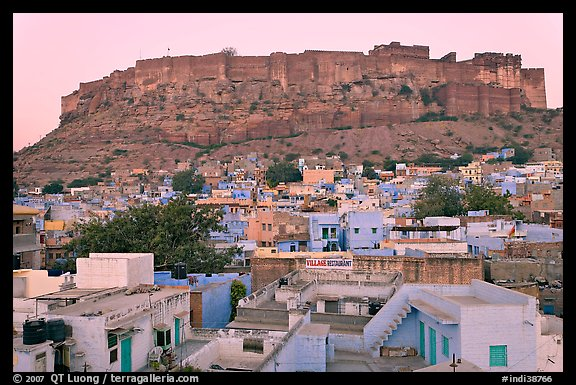Rooftops and Mehrangarh Fort at dawn. Jodhpur, Rajasthan, India (color)