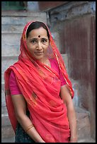 Woman in red sari. Jodhpur, Rajasthan, India