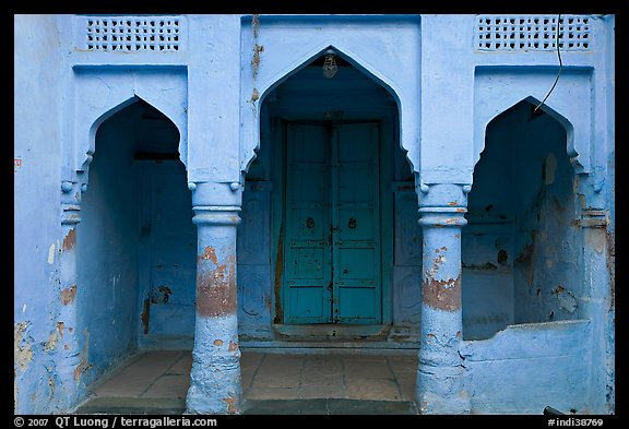 Blue porch of Brahmin house. Jodhpur, Rajasthan, India (color)