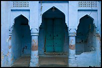 Blue porch of Brahmin house. Jodhpur, Rajasthan, India ( color)
