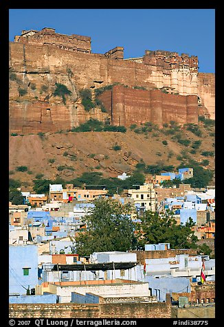 Old town at the base of the Mehrangarh Fort, morning. Jodhpur, Rajasthan, India (color)