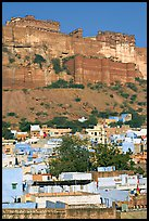 Old town at the base of the Mehrangarh Fort, morning. Jodhpur, Rajasthan, India ( color)