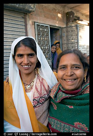 Smiling women in old street. Jodhpur, Rajasthan, India (color)