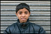 Boy with insulated jacket. Jodhpur, Rajasthan, India (color)