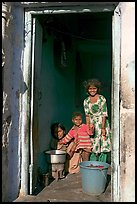 Family inside doorway. Jodhpur, Rajasthan, India (color)
