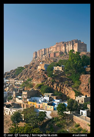 Mehrangarh Fort on top of hill. Jodhpur, Rajasthan, India (color)
