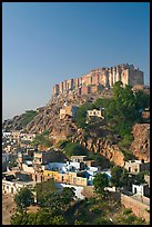 Mehrangarh Fort on top of hill. Jodhpur, Rajasthan, India ( color)