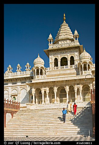 Tourists walking down steps in front of Jaswant Thada. Jodhpur, Rajasthan, India (color)