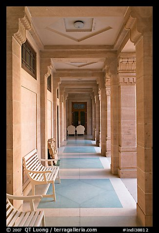 Corridor inside Umaid Bhawan Palace. Jodhpur, Rajasthan, India (color)
