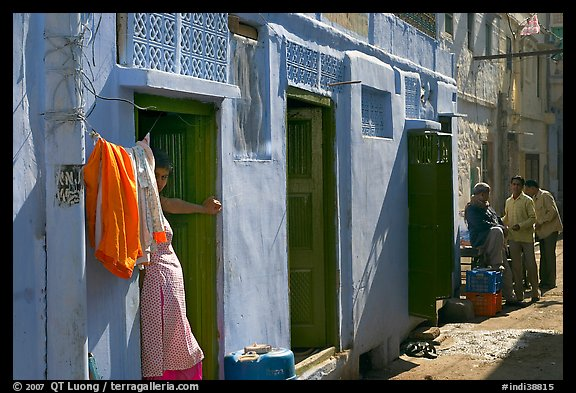 Sunlit street with blue house. Jodhpur, Rajasthan, India (color)