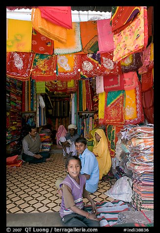 Shop selling colorful Rajasthani fabrics, Sardar market. Jodhpur, Rajasthan, India