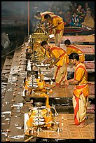 Brahmans preparing for evening puja. Varanasi, Uttar Pradesh, India (color)