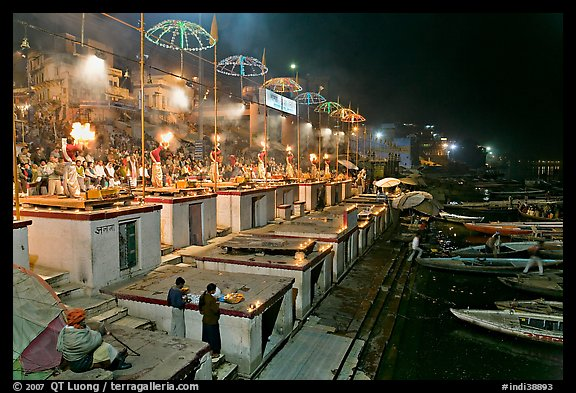 Aarti ceremony on the banks of the Ganga River. Varanasi, Uttar Pradesh, India