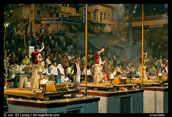 Brahmans performing evening arti ceremony. Varanasi, Uttar Pradesh, India (color)