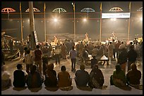 Worshipers attending arti ceremony at Ganga Seva Nidhi. Varanasi, Uttar Pradesh, India