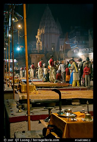 Pujari giving blessings at  Dasaswamedh Ghat. Varanasi, Uttar Pradesh, India (color)