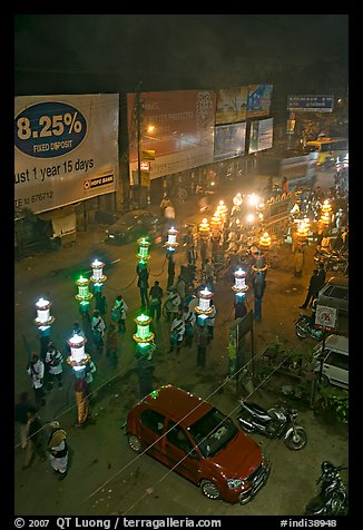 Street and wedding procession by night from above. Varanasi, Uttar Pradesh, India (color)