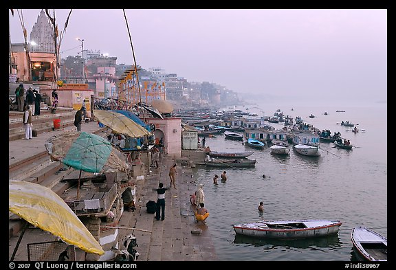 Foggy dawn on the banks of the Ganges River. Varanasi, Uttar Pradesh, India
