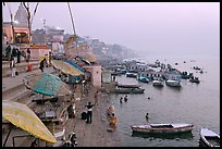 Foggy dawn on the banks of the Ganges River. Varanasi, Uttar Pradesh, India ( color)