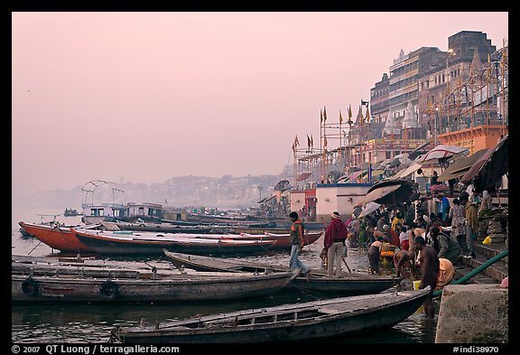 Boats and ghat at sunrise. Varanasi, Uttar Pradesh, India (color)
