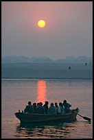 Boat on the Ganges River at sunrise. Varanasi, Uttar Pradesh, India