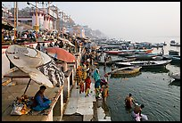 Dasaswamedh Ghat and Ganges River, sunrise. Varanasi, Uttar Pradesh, India