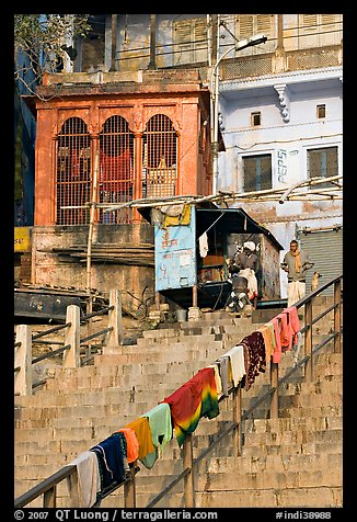 Laundry on hand-rail of ghat steps. Varanasi, Uttar Pradesh, India (color)