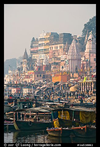 Boats and Dasaswamedh Ghat, sunrise. Varanasi, Uttar Pradesh, India (color)