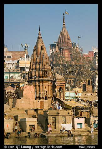 Hindu temples on the riverbank of the Ganga River. Varanasi, Uttar Pradesh, India (color)