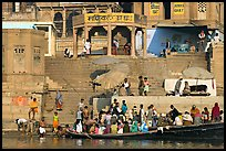 Boats loaded with pilgrims and steps, Manikarnika Ghat. Varanasi, Uttar Pradesh, India (color)