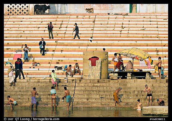 Men finishing their bath below the steps of Scindhia Ghat. Varanasi, Uttar Pradesh, India (color)