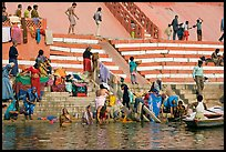 Women bathing at Meer Ghat. Varanasi, Uttar Pradesh, India (color)