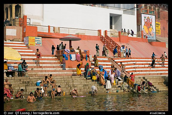 Colorful steps at Meer Ghat. Varanasi, Uttar Pradesh, India (color)