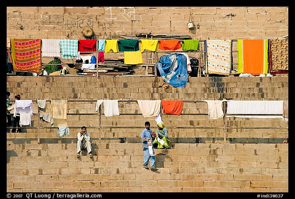 Laundry and steps. Varanasi, Uttar Pradesh, India (color)
