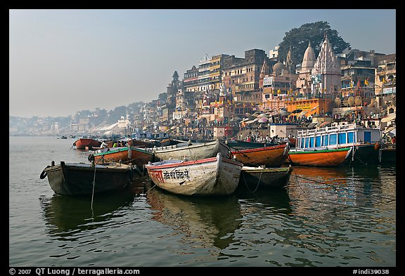 Ganges River, with boats and Dasaswamedh Ghat. Varanasi, Uttar Pradesh, India