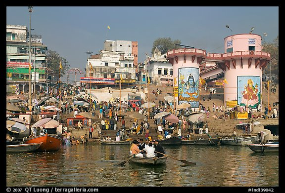 Dasaswamedh Ghat, the main Ghat on the Ganges River. Varanasi, Uttar Pradesh, India (color)