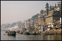 Munshi Ghat and Ganges River. Varanasi, Uttar Pradesh, India