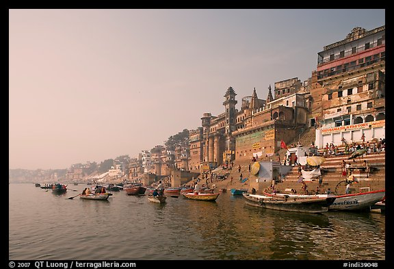 Bathing ghats and Ganga River at sunrise. Varanasi, Uttar Pradesh, India