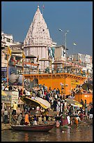 Temple and Dasaswamedh Ghat. Varanasi, Uttar Pradesh, India (color)