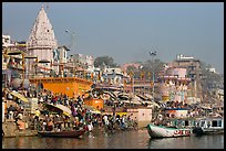 Crowds at Dasaswamedh Ghat. Varanasi, Uttar Pradesh, India (color)