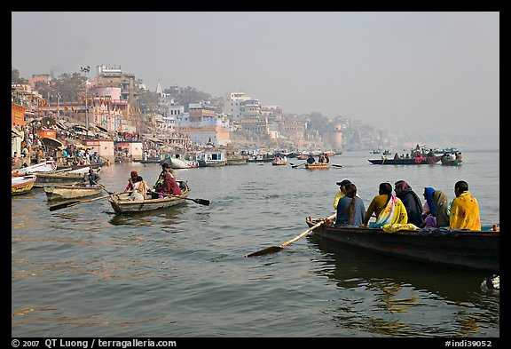 Rowboats on Ganges River. Varanasi, Uttar Pradesh, India (color)