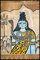 Mural painting of hindu deity. Varanasi, Uttar Pradesh, India