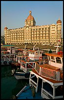 Tour boats in front of Taj Mahal Palace Hotel. Mumbai, Maharashtra, India